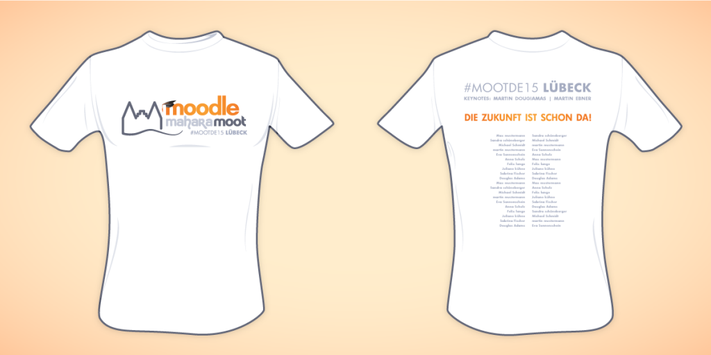 Entwurf Konferenzshirts MootDE15 mit Rednerliste auf dem Rücken